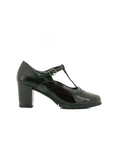 Correa Pitillos Zapato Charol Combinación Negro 5285 Empeine Piel Tacón qHqXTwU0